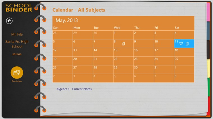 Calendar View shows you a list of notes and events for each day.