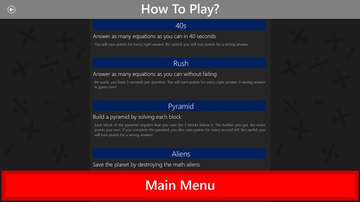 Page that describes how the games work.