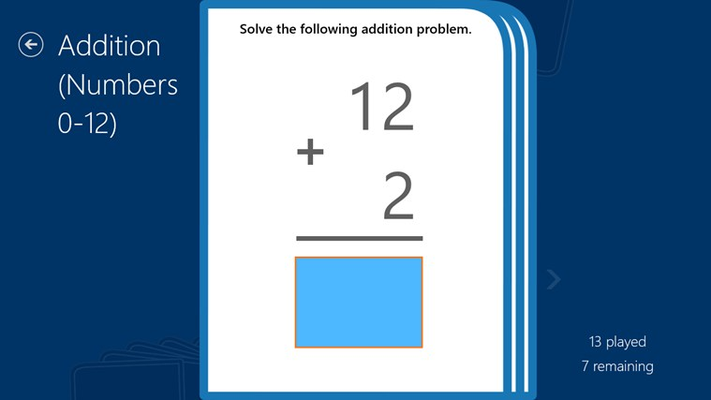 Type in answers to mathematics problems using the keyboard.