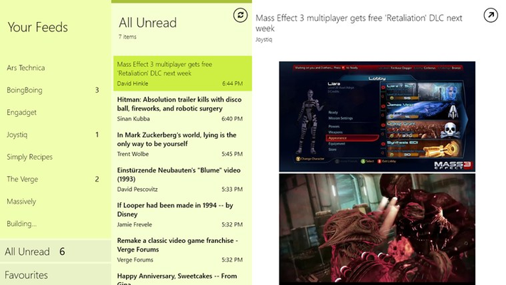 All Unread view showing all feed items that have not yet been read.