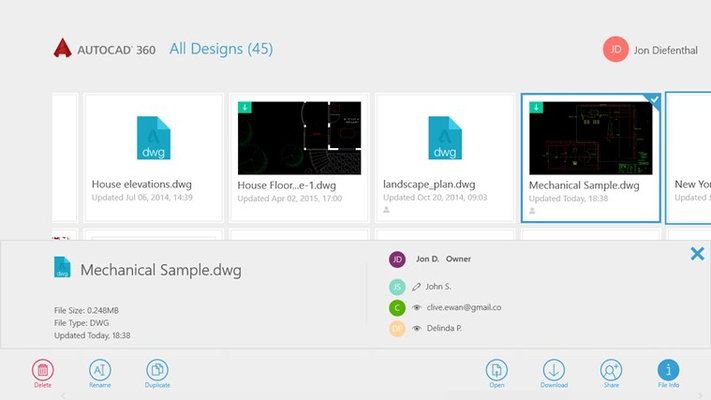Seamlessly share drawings with others across desktop, web and mobile devices.