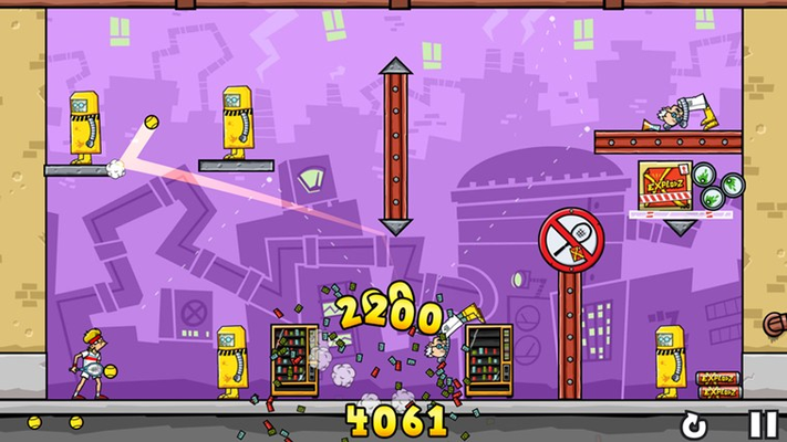 Take out increasingly challenging enemies; clowns, riot police, mad scientists and more!