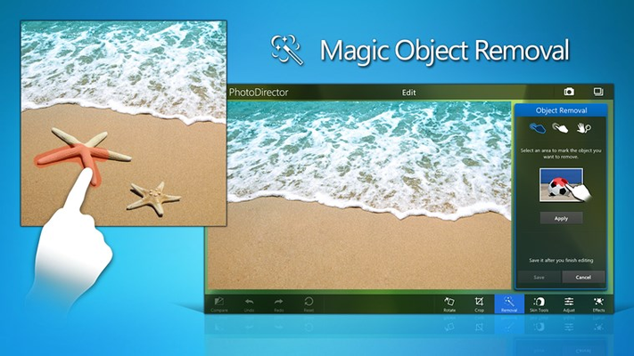 Easily remove background eyesores from your photos with content-aware removal.