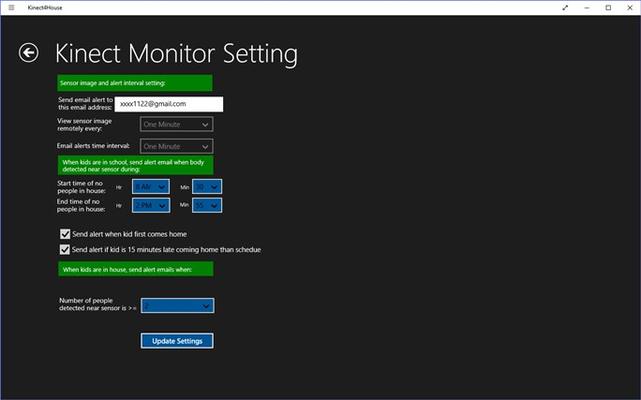Setup sensor settings