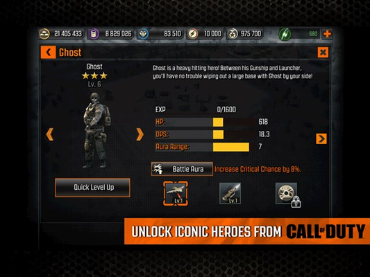 - Unlock iconic Heroes from Call of Duty