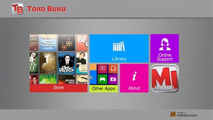 Aplikasi Toko Buku untuk Windows bisa di download di Windows Store dan dapat diakses melalui Tablet berbasis Windows 8.1.