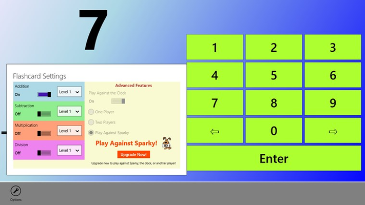 Users can select multiple levels of addition, subtraction, multiplication or division.  Advanced features can also be accessed with an upgrade.