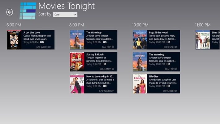 Browse movies on TV tonight