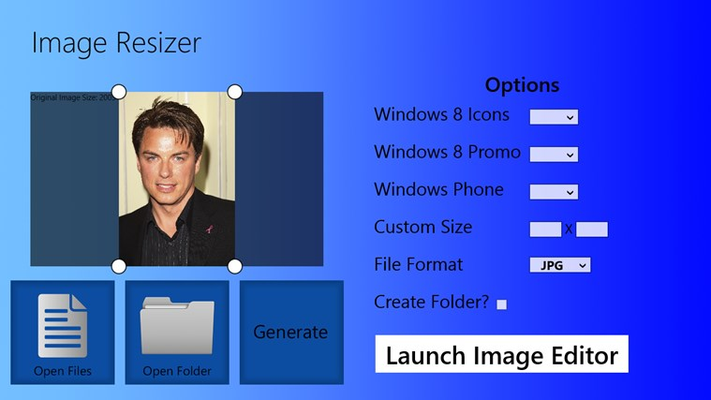 Resize your images or multiple files to custom or preset values.