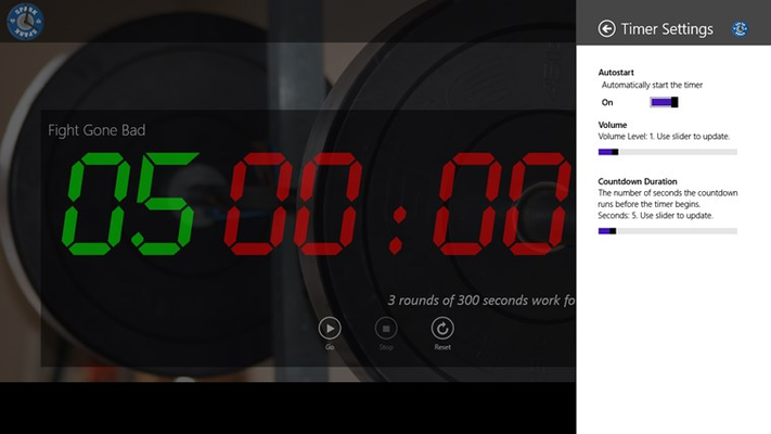 Settings menu with options for controlling autostart, volume, and countdown duration