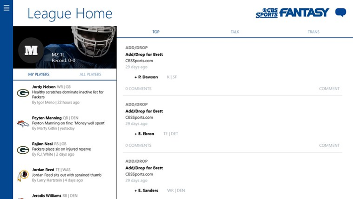 League Home - Chat and Transactions