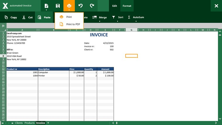 Client for Excel for Windows 8
