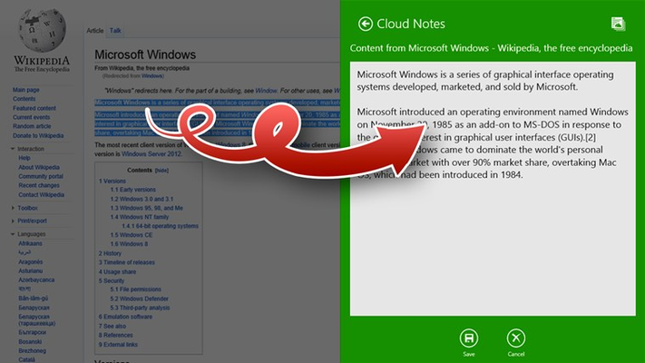 Share text and links into Cloud Notes from Mail or Internet Explorer