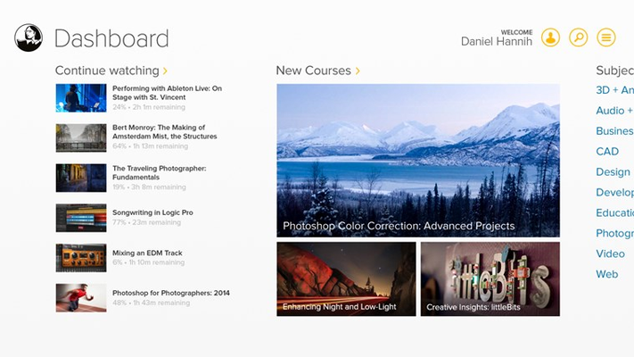 Continue courses where you left off directly from the dashboard