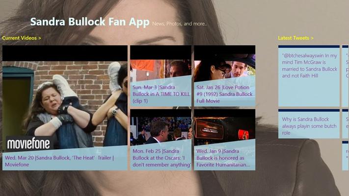 Sandra Bullock - Fan Club Videos and Tweets Screen