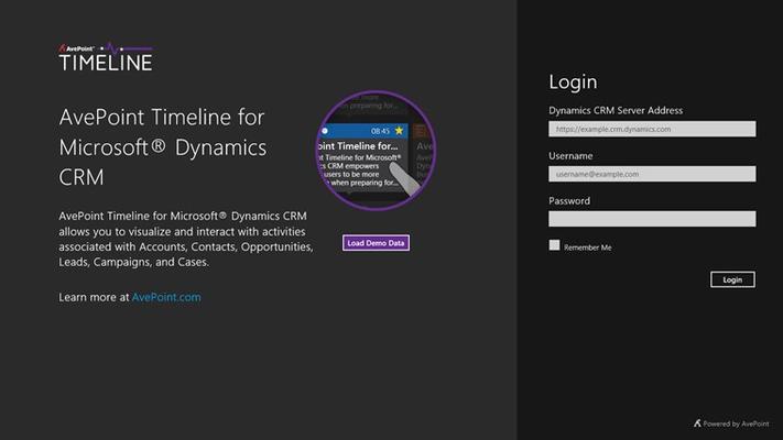 AvePoint Timeline for Microsoft® Dynamics CRM for Windows 8