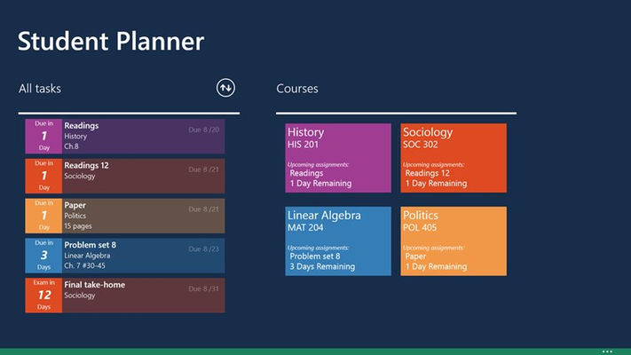 See all courses and tasks in the homepage hub
