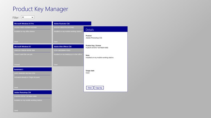 Product Key Manager for Windows 8