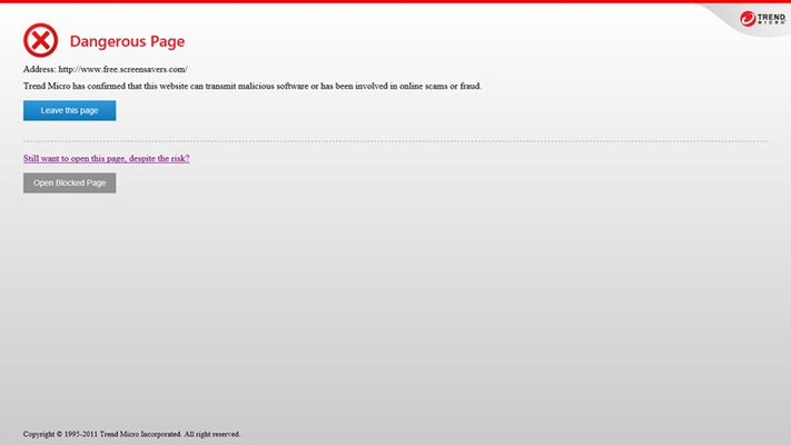 Trend Micro SafeSurfing automatically blocks you from opening unsafe websites.