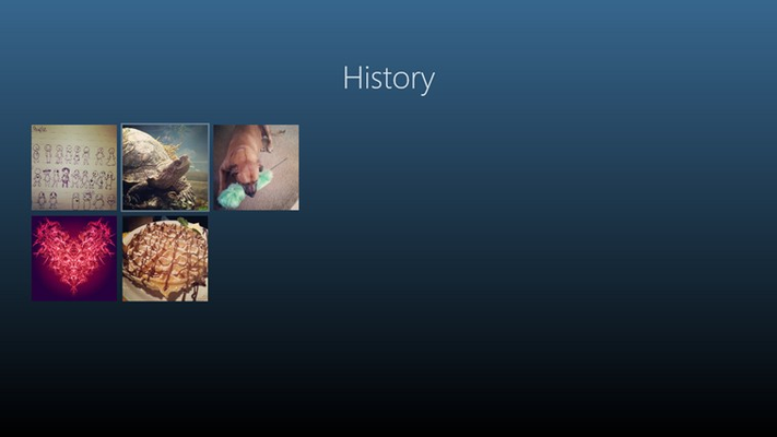 History page shows your previous images! Select an image and pull down the app bar if you want to delete!