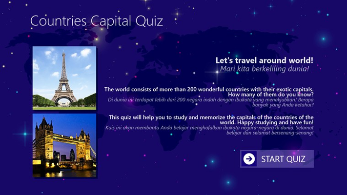 Main page shows introduction to quiz