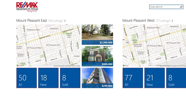 Easily see an overview of the neighbourhood with one click to new and sold listings