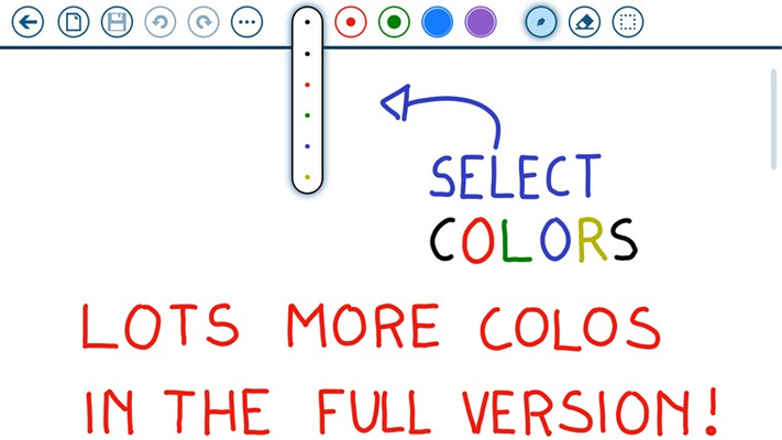Double Tap to select among 5 pens and 5 highlighter colors. Lots more colors in the full version!
