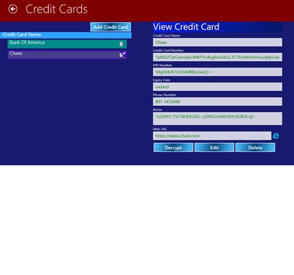 Create and view credit card information