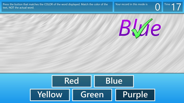 Color Chaos. It's harder than it looks, press the button that matches the color of the word, not the word itself.