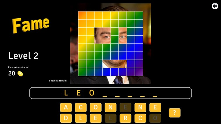 You are now on level 2 and have started tapping on the letters to solve it.  Watch out, the answer to this one is the first name.