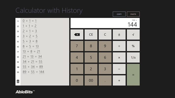Calculator with History for Surface and Windows 8.