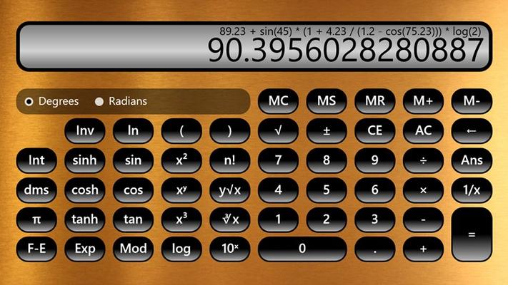Scientific Calculator in landscape mode with brass background.