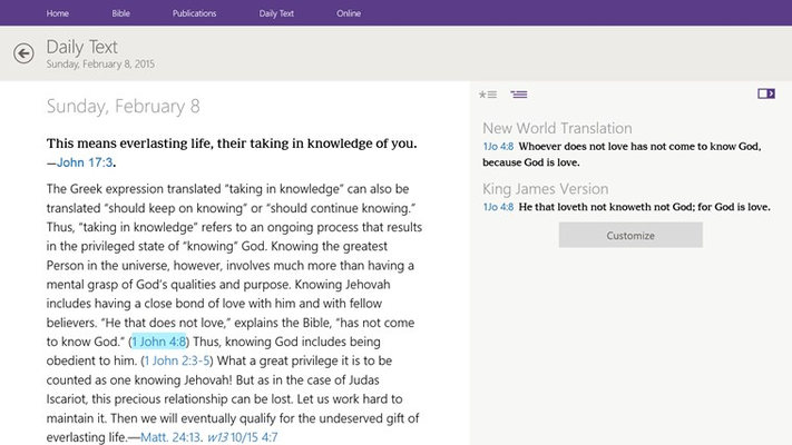 JW Library for Windows 8