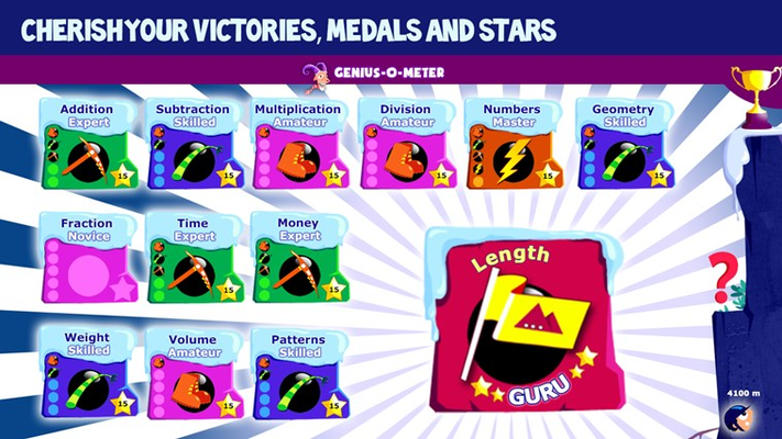 Collect all the medals and start in your Genius O Meter
