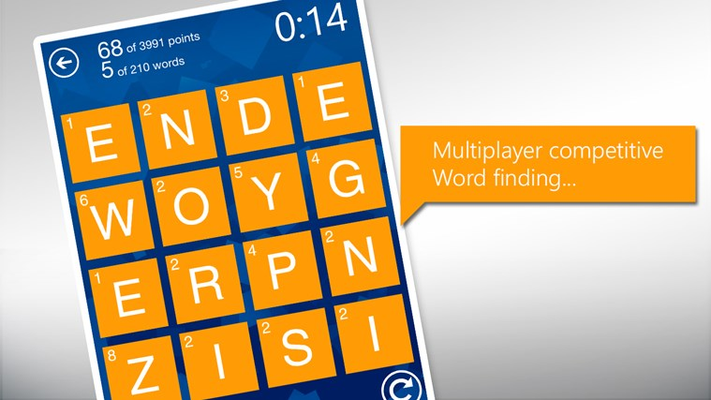 Multiplayer competitive word finding.