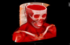 Full volumetric view of a skull CT with Hot Iron color palette.