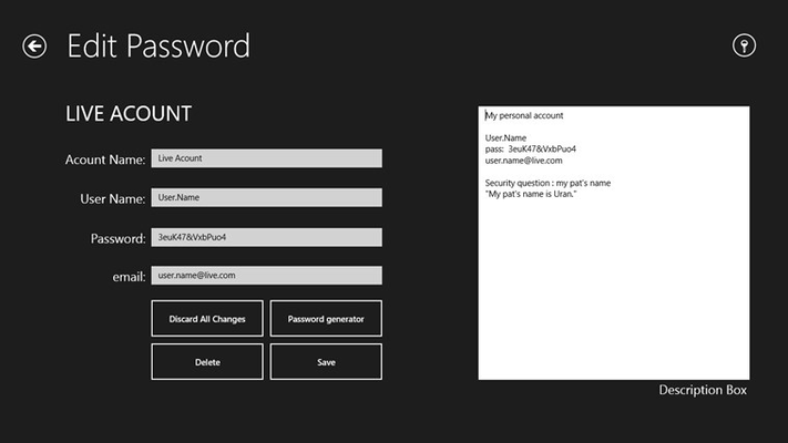 When you try to save or edit the password you will do it on this page