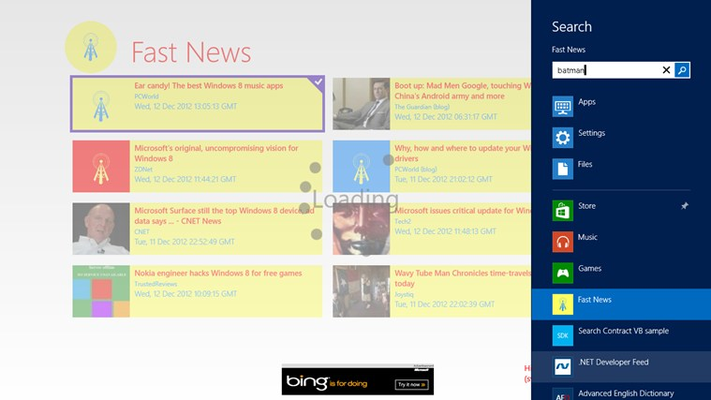 The Windows 8/RT Search Charm makes finding news easy and fast