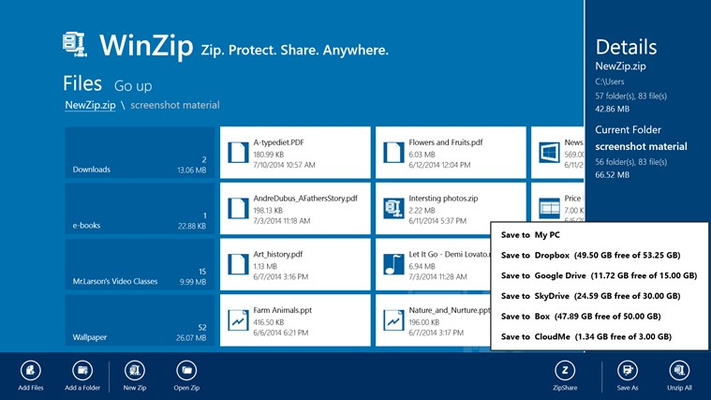 Create .zip or .zipx files and instantly save to your PC, Dropbox, Google Drive, Box , SkyDrive or CloudMe account.