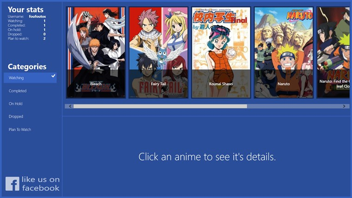 View your anime by selecting a category