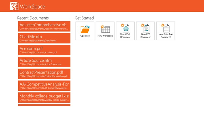 ComponentOne WorkSpace for Windows 8