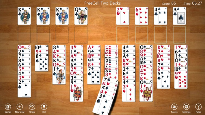 FreeCell Two Decks game in progress
