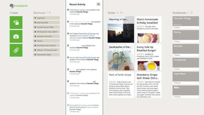 Activity Feed keeps you updated on all the things that are happening in shared notebooks.