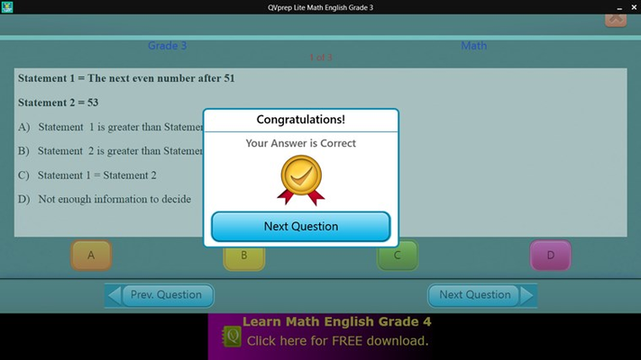 Math test - Correct Answer Screen