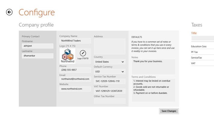 Configure company details, taxes, item categories