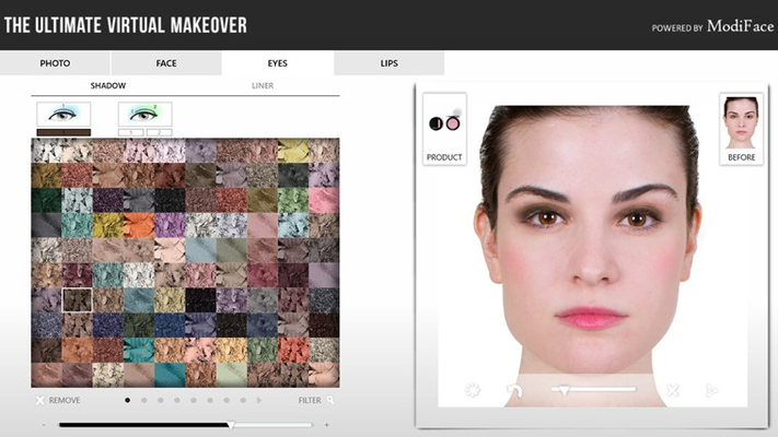 Apply nearly 1000 color cosmetics shades (lipsticks, eyeshadows, etc.) on a photo within seconds!