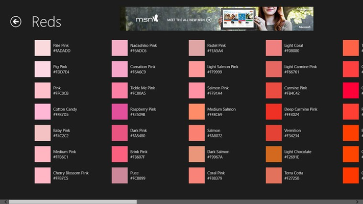 A view of the Red colors. This app is ad supported, the ad is on the top of this screenshot