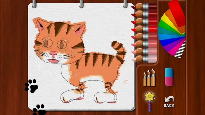 Color a cat using the painting tools