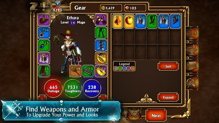 Thousands of different weapons and armors to customize your character's powers and looks.