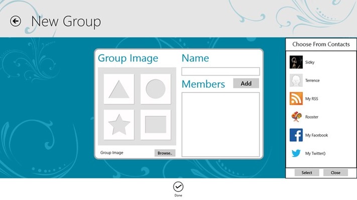 Create Groups of like contacts, ex. Family, Friends, Social etc.